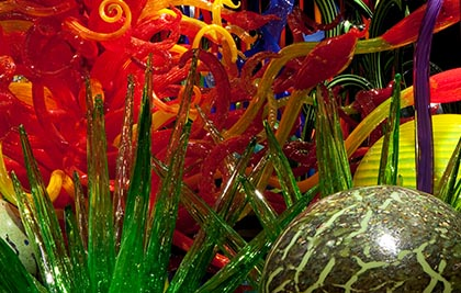 Dale Chihuly<br />Mille Fiori (detail)<br />2012<br /><span style='font-weight:bold;color:red;'>3 x 17,7 x 3,7 m</span><br />Seattle, Chihuly Garden and Glass<br />Photo Scott M. Leen<br>